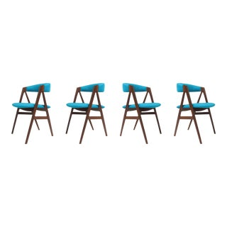 Set of 4 Danish Dining Chairs in Turquoise Wool For Sale