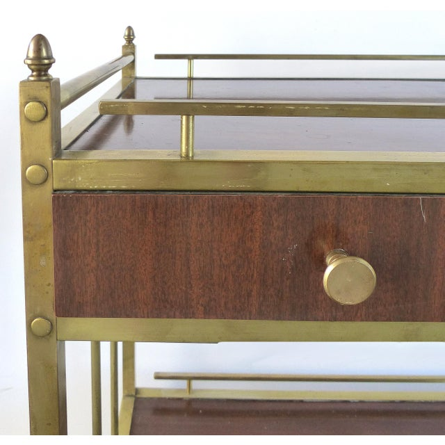 Gold Bi-Level Brass Rolling Bar Trolley W/ Wood Accents For Sale - Image 8 of 10