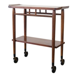 Mid Century Modern Lane Furniture Oak and Walnut Bar Cart For Sale