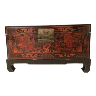 Vintage Lacquer Chinese Chinoiserie Trunk For Sale