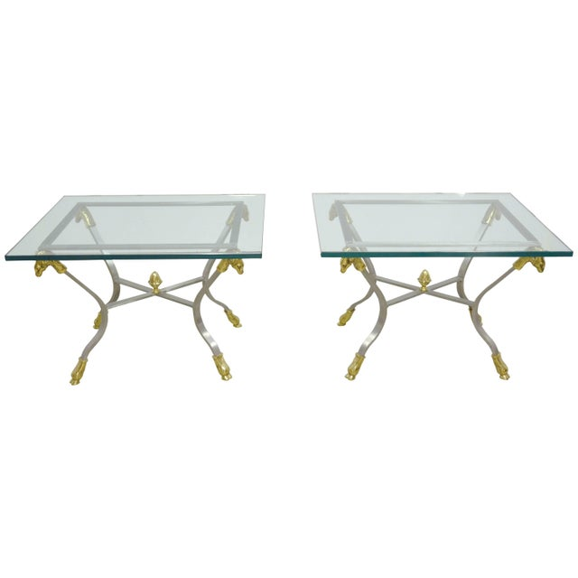 Pair of Steel, Brass and Glass Side Tables For Sale - Image 11 of 11