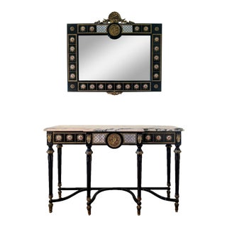 French Louis XVI Ebonized Marble Top Console with Mirror - 2 Pieces For Sale