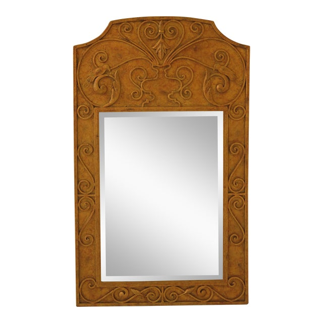 Iron Paint Decorated Designer Mirror with Beveled Glass For Sale