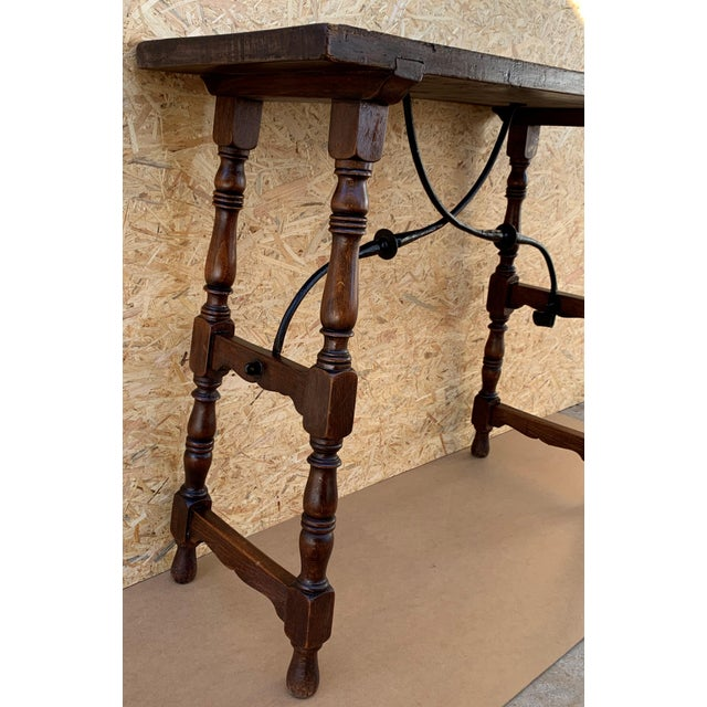 Iron 19th Spanish Console Table With Iron Stretcher and Shaped Legs, Side Table, Baroque For Sale - Image 7 of 11