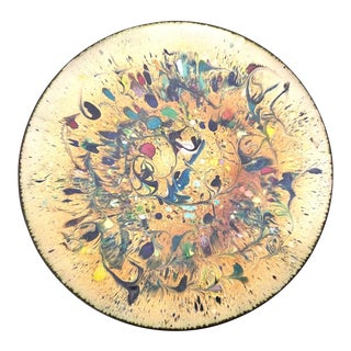 Enamel Painted Brass Plate For Sale