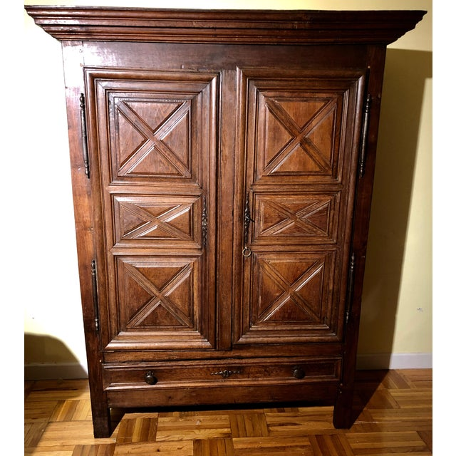 Antique French Louis XIII Raised Croisillons Motifs Armoire For Sale - Image 9 of 9