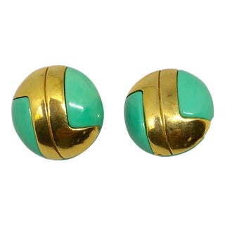 Lanvin Aqua Lucite Modernist Clip on Earrings For Sale