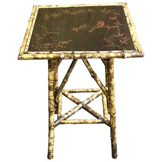 19th Century French Chinoiserie Lacquered Bamboo Table