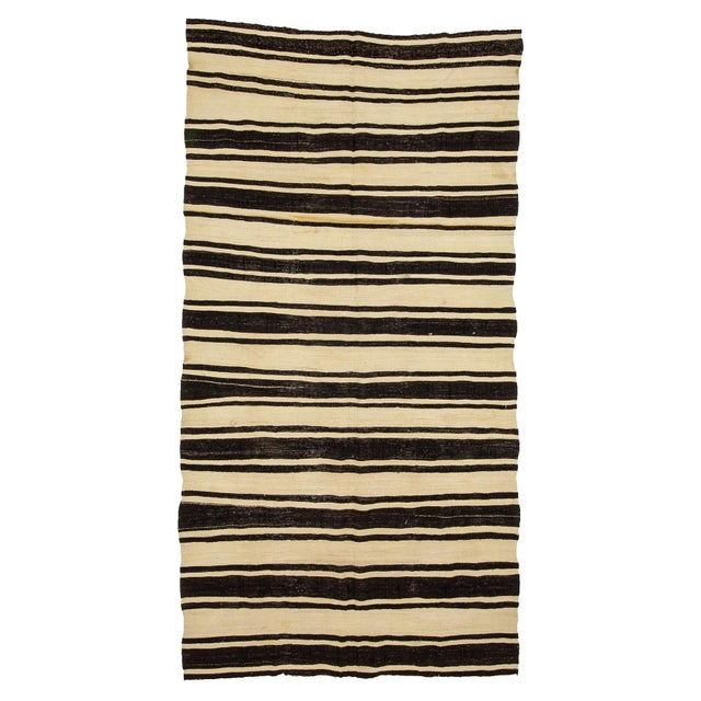 Textile 1960s Vintage Striped Natural Kilim Rug- 5′10″ × 11′3″ For Sale - Image 7 of 7