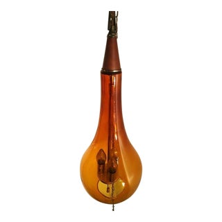 Vintage Mid-Century Modern Blown Teardrop Amber Swag Lamp For Sale
