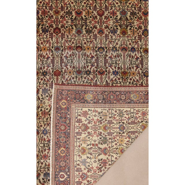 """Ivory Classic Antique Persian Sarouk Rug, 4'4"""" X 6'5"""" For Sale - Image 8 of 11"""