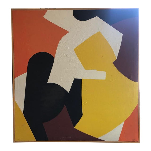 1960s Vintage Mg Christian Abstract Geometric Oil on Canvas Painting For Sale