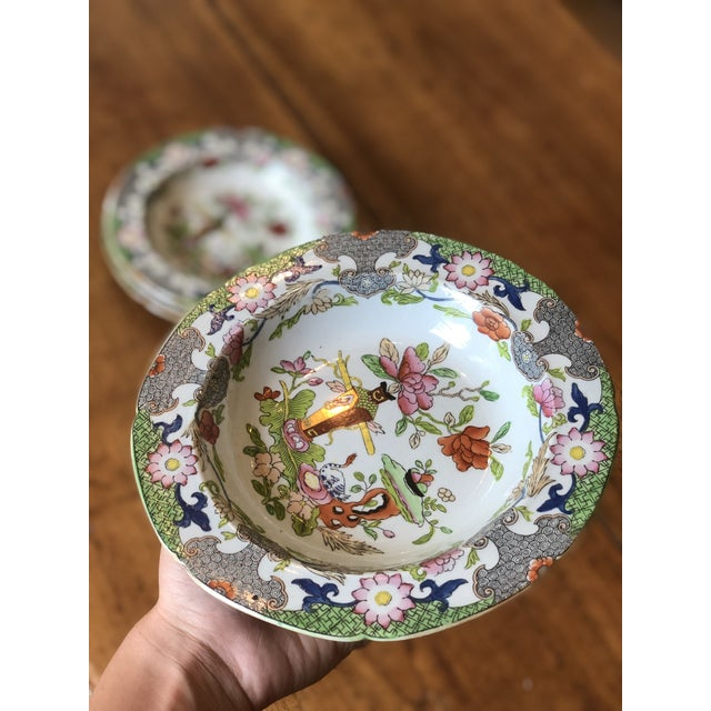Antique Floral Detail Ironstone Bowls - Set of Four For Sale - Image 6 of 10