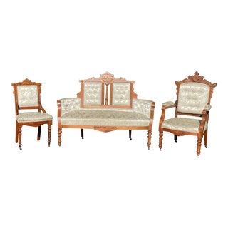 Late 19th Century Victorian Eastlake Hand-Carved Walnut Parlor Settee & Chairs - Set of 3 For Sale