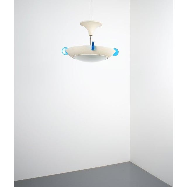 Blue Post Modern Memphis Style Semi Flush Mount or Chandelier, Italy For Sale - Image 8 of 13