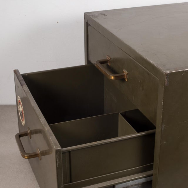 Industrial Industrial Factory Two Drawer Cabinet With Brass Pulls C.1940 For Sale - Image 3 of 12