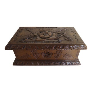"""French Carved Box """"Andrew & Theo"""" in Arts & Crafts Style"""