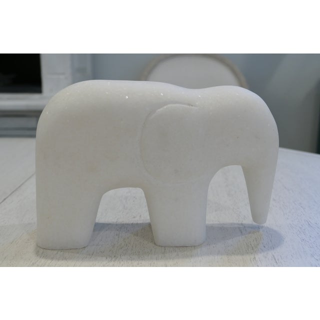 Contemporary White Marble Elephant Contemporary Figurine For Sale - Image 3 of 8