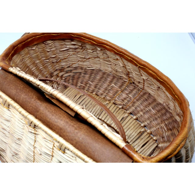 Country Vintage Leather and Wicker Fly Fishing Basket For Sale - Image 3 of 12