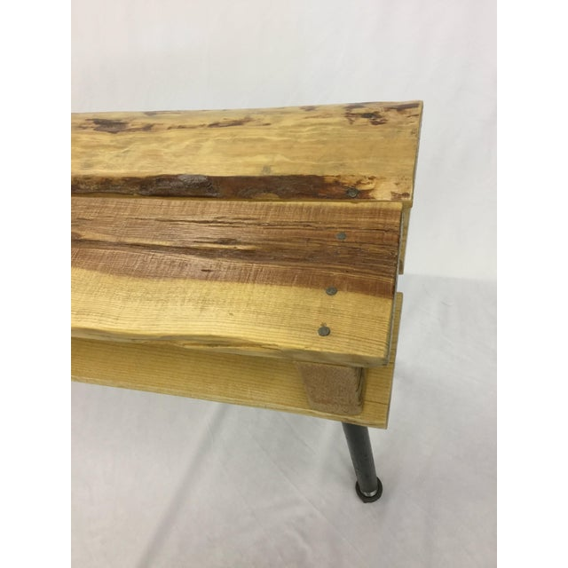 Wood Pallet Wood Hand Finished Narrow Hallway Bench For Sale - Image 7 of 12