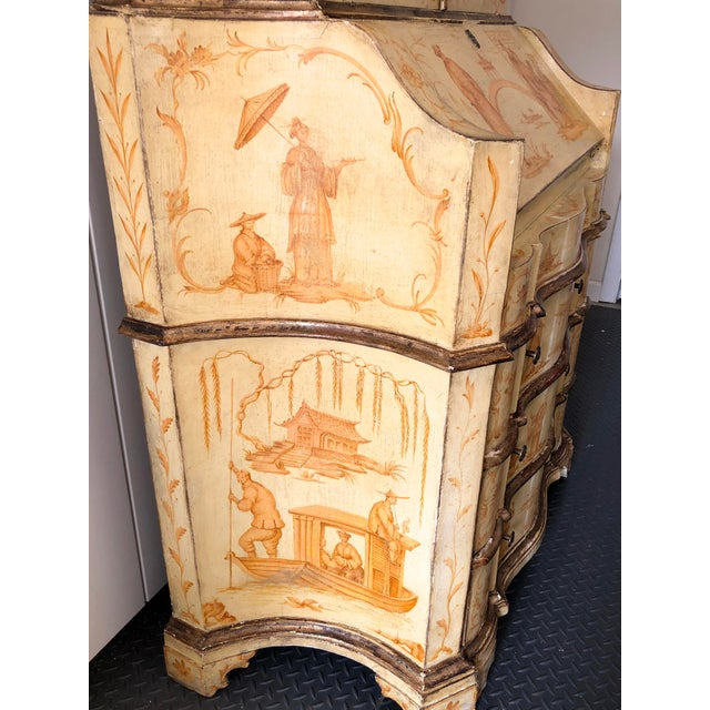 Gold 19th C. Italian Hand Painted Secretary Bookcase With Chinoiserie Decor For Sale - Image 8 of 11