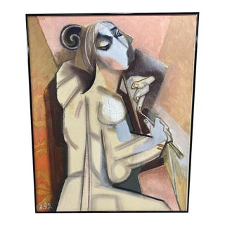 """1990s """"Portrait of Tanya Anisimova"""" Abstract Cubist Style Oil Painting by Alexander Anufriev, Framed For Sale"""
