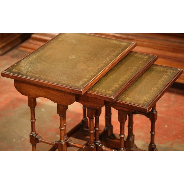 French Wooden & Green Leather Nesting Tables - Set of 3 - Image 4 of 5