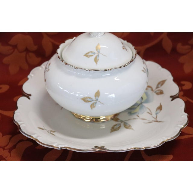 Hand Painted and Gold Porcelain Centerpiece by J Seltmann 2 Pieces, 1930s For Sale - Image 4 of 11