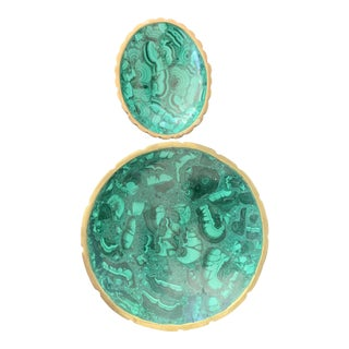 Malachite Bowls With Brass Rim Detailing - a Pair For Sale