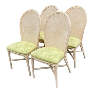 Vintage Coastal Pencil Reed Dining Chairs - Set of 4 For Sale
