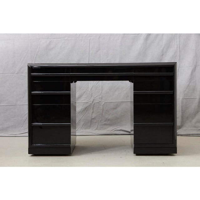 Mid-Century Modern T.H. Robsjohn Gibbings Walnut Kneehole Desk, Ebonized with Brass Pulls For Sale - Image 3 of 12