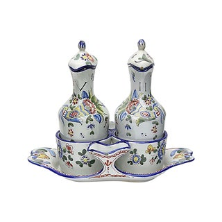 French Faience Vinegar & Oil W/ Tray For Sale