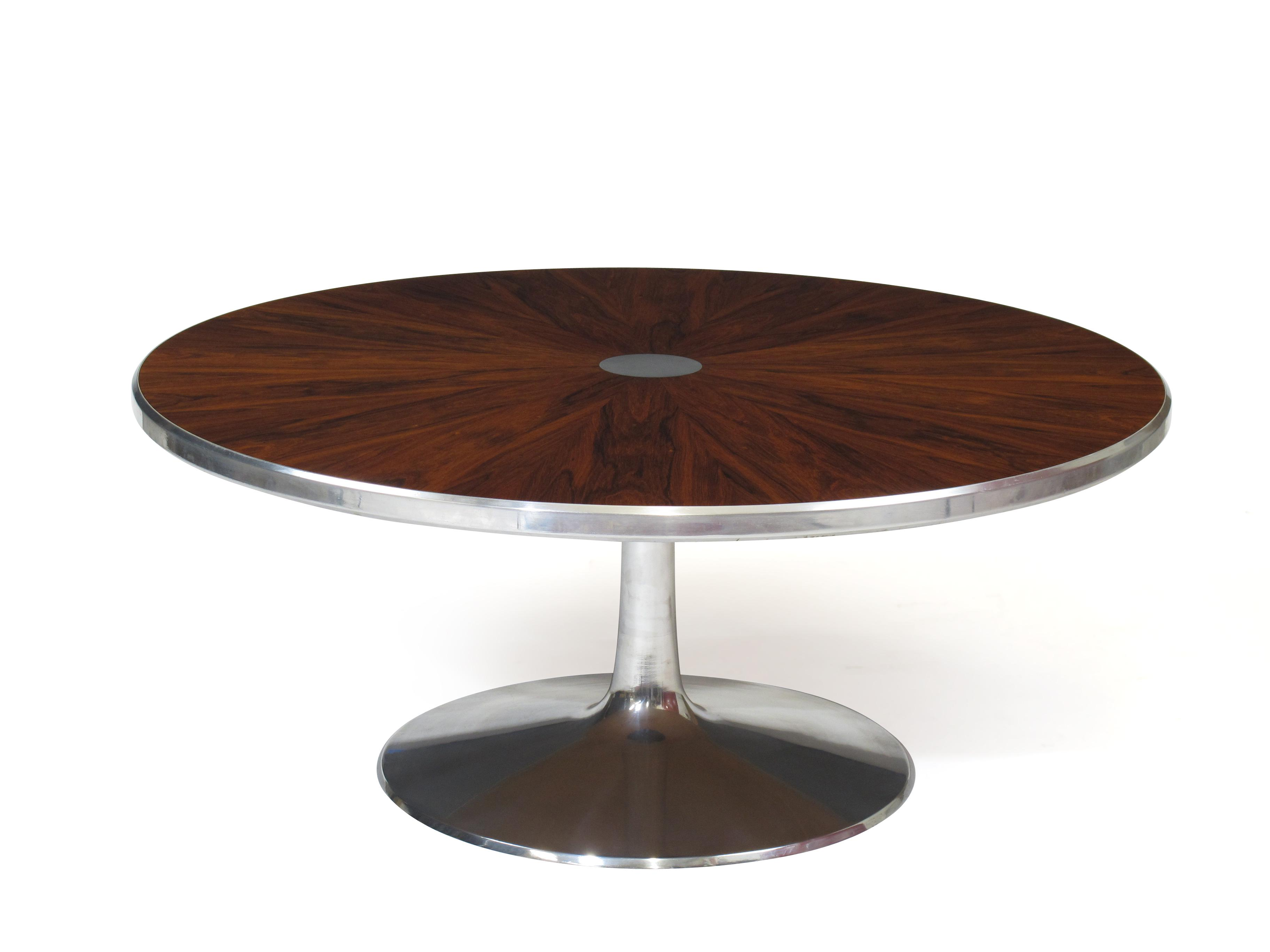 Steen Ostergaard For Poul Cadovius Chrome Pedestal Rosewood Coffee Table    Image 3 Of 10
