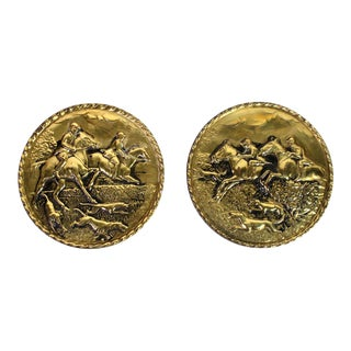19th Century Brass Repousse English Equestrian Hunting Plates - Set of 2 For Sale