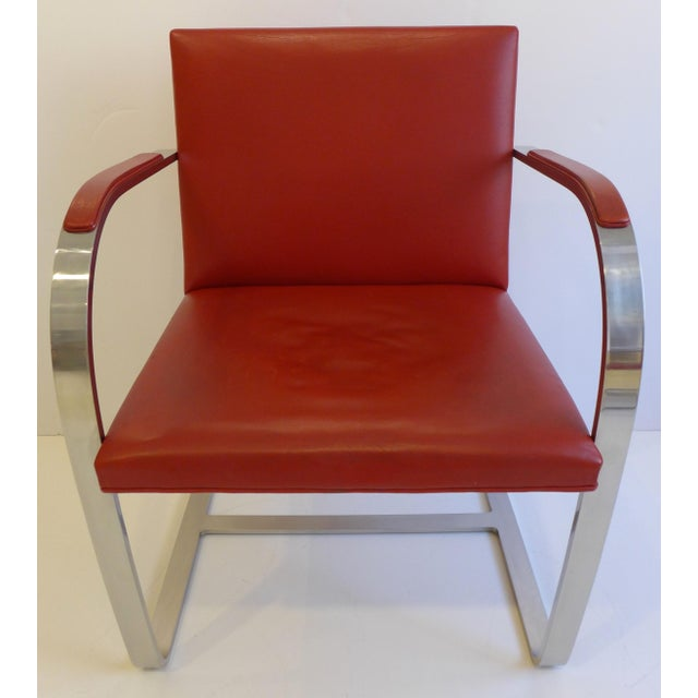 Vintage Pair of Knoll Brno Chairs in Red Leather For Sale In New York - Image 6 of 9