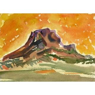 Watercolor - Fiery Mountain Top Landscape For Sale