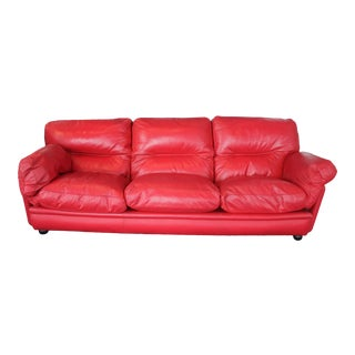 1980s Poltrona Frau Red Sofa For Sale