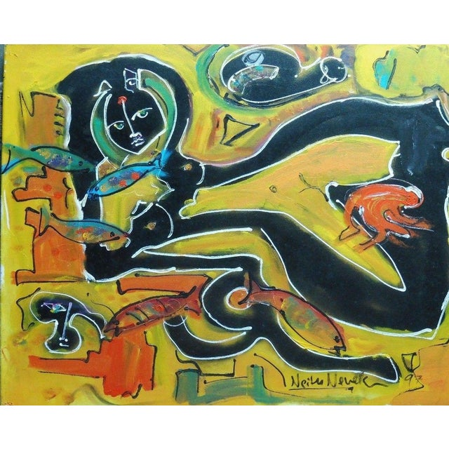 """1980s Abstract """"Nude with Fish"""" Painting by Neith Nevelson For Sale - Image 5 of 5"""
