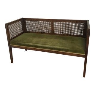 Vintage Mid Century Cane Back Velvet Bench For Sale