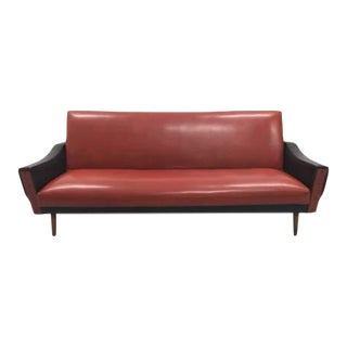 Gorgeous 1960s Mid-Century Retro Style Two Tone Red and Black Vinyl Sofa For Sale