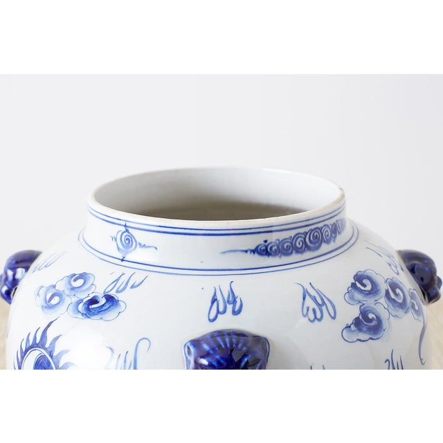 Chinese Oversized Chinese Blue and White Porcelain Ginger Jar For Sale - Image 3 of 13