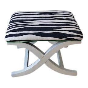 Contemporary Kravet Upholstered Navy Blue Linen Mona Zebra X-Bench