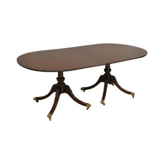 English Regency Style Custom Mahogany Double Pedestal Dining Table For Sale