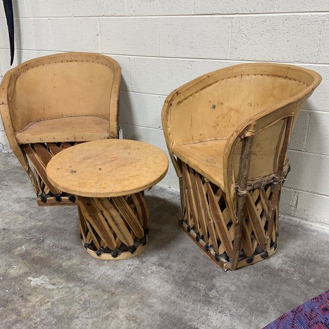 Boho Chic 1960s Equipale Chairs and Tabl Set - Set of 3 For Sale - Image 3 of 12