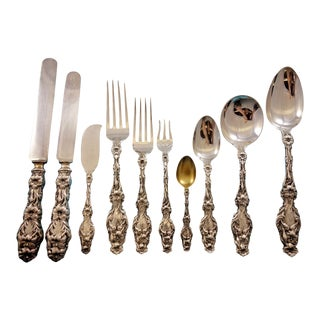 Lily by Whiting Sterling Silver Flatware Set for 12 Service 125 Pcs Dinner Old For Sale