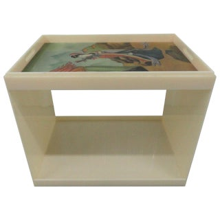 1990s Contemporary Custom Acrylic Side Table With Tray Top For Sale