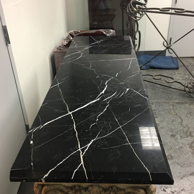 Console Table with Black Marble Top & Column Base - Image 7 of 8