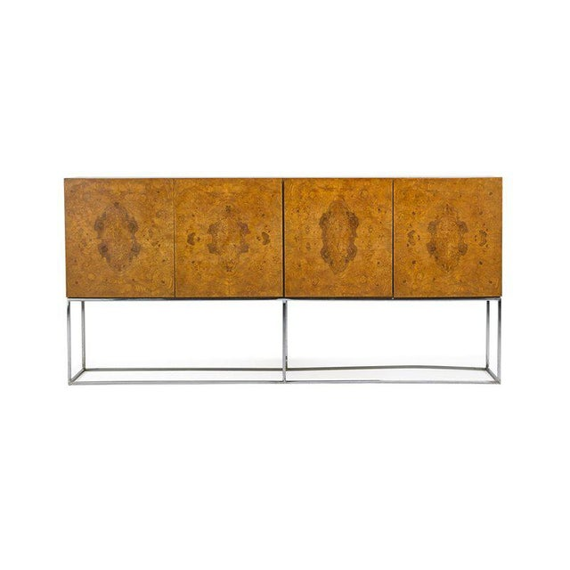 Milo Baughman for Thayer Coggin Cabinet. Burl wood with chrome base.