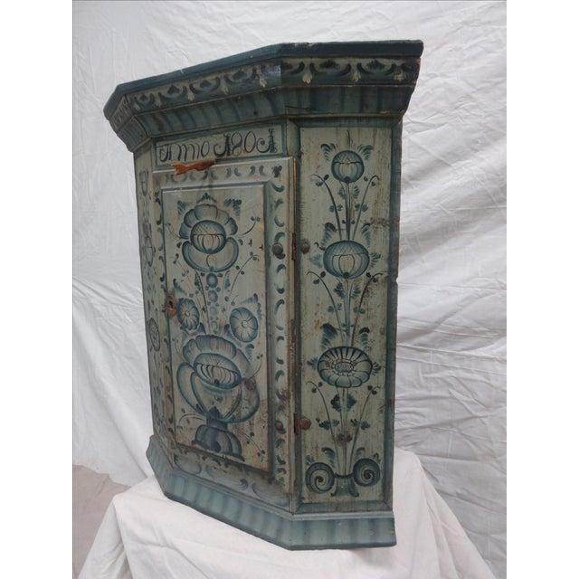 Art Nouveau Swedish Original Painted Hanging Corner Cabinet For Sale - Image 3 of 6