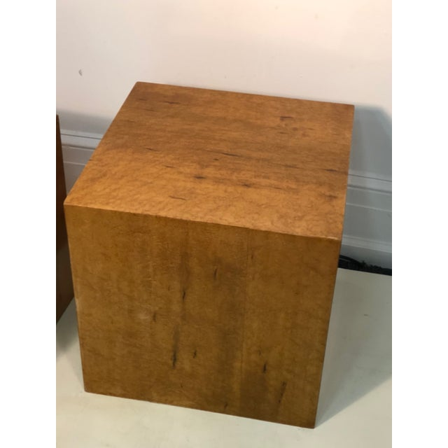 Late 20th Century Late 20th Century Burl Wood Cubes or Side Tables- A Pair For Sale - Image 5 of 6